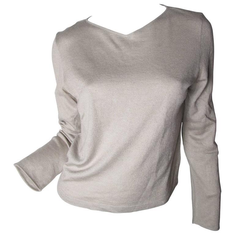 Chanel Beige Cashmere / Silk Sweater  For Sale