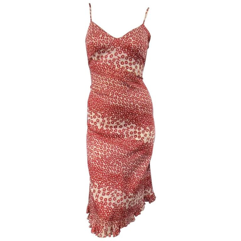 CHANEL Size 10 Red & Beige Floral Cotton Ruffled Hem Slip Dress Spring 2003 For Sale