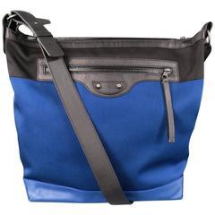 BALENCIAGA Royal Blue & Black Canvas & Leather City Cross Body Messenger Bag