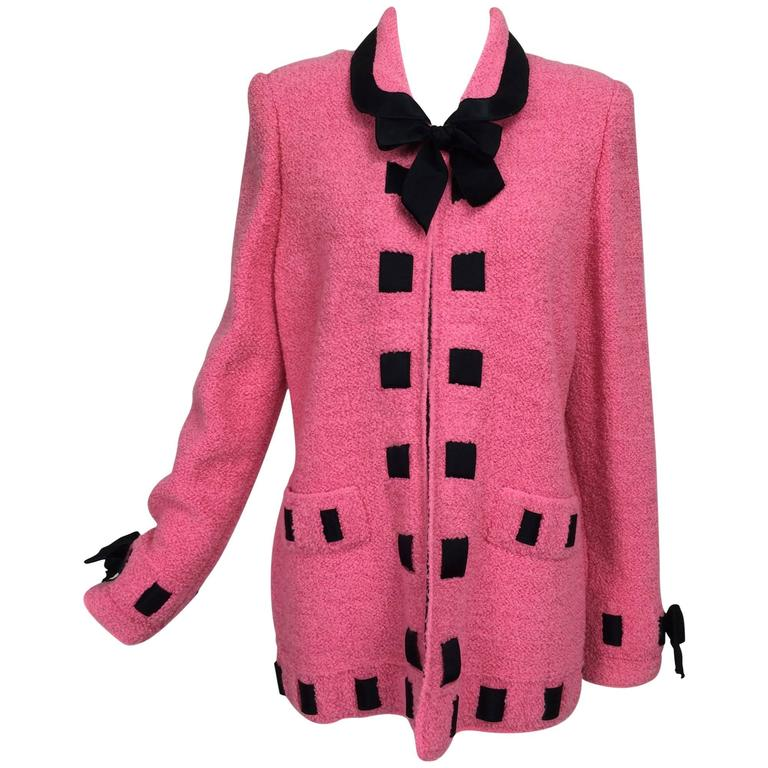 Vintage Adolfo pink & black ribbon trim boucle jacket 1970s For Sale
