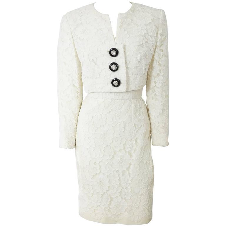 Tomasz Starzewski Ivory Soutache Lace Strapless Dress w/ Jacket-12-90's