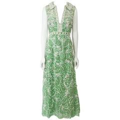 Malcolm Starr Heavily Beaded Green Silk Organza Gown, Circa 1970s