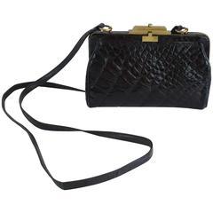 Marino Black Alligator Crossbody Bag - 1990's