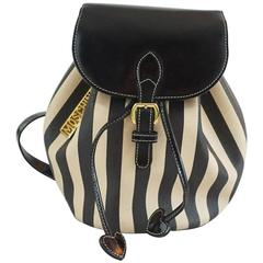 """Moschino Tan and Black Stiped Bucket Drawstring Backpack-GHW-90""""s"""