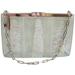 Gucci Silver Crocodile Rectangular Small Shoulder Handbag - SHW