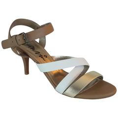 Lanvin Tan/White/Gold Strappy Leather Sandal - 37