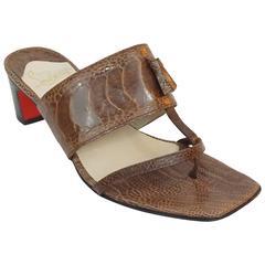 Christian Louboutin Brown Crocodile Thong Sandal w/ Block Heel-37