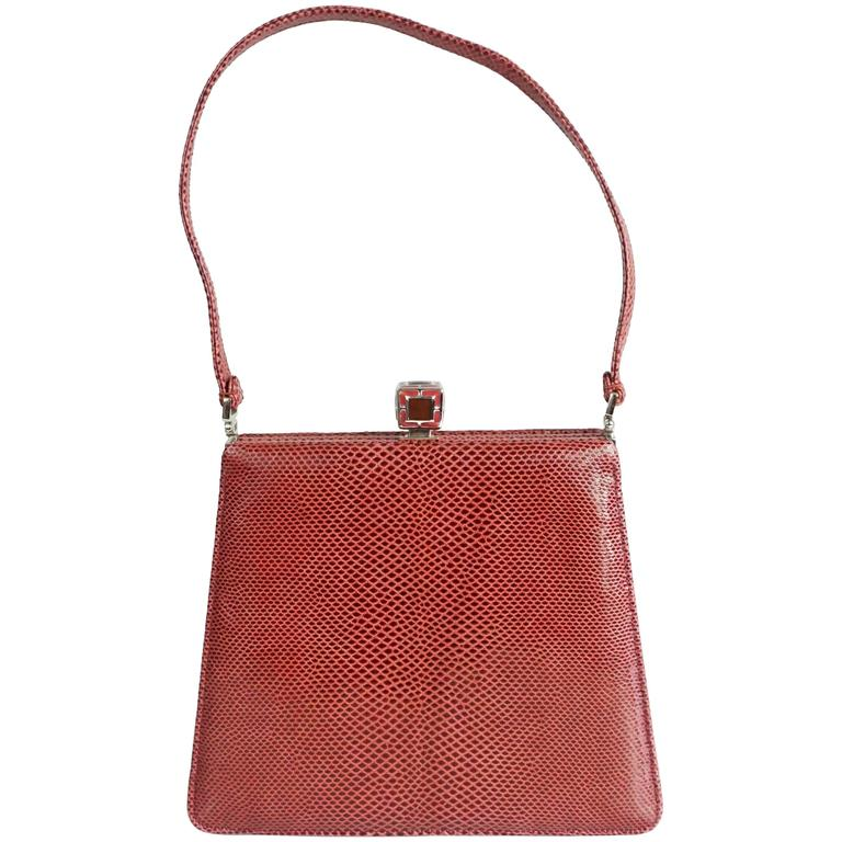 Judith Leiber Deep Red Lizard Top Handle Handbag - SHW