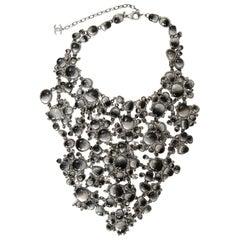 Chanel 2011 Runway Black & Grey Glass/Rhinestone Bib Necklace rt. $12k+