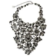 Chanel 2011 Runway Black & Grey Glass/Rhinestone Bib Necklace rt. $10k+