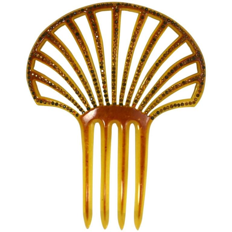 Art Deco Pierced Celluloid and Citrine Paste Comb