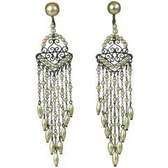 Art Deco Faux Pearl Fringe Earrings