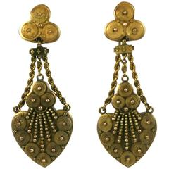 Elaborate Victorian Etruscan Earrings