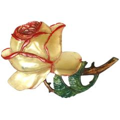 French Art Nouveau Blond Horn Rose Brooch