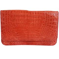 Unknown Red Crocodile Fold-Over Clutch