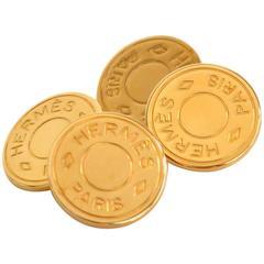 Hermes Gold 'Hermes Paris' Round Disc Men's Cufflinks