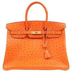 Hermès Orange Ostrich Skin 35 cm  Birkin Bag with Gold Hardware