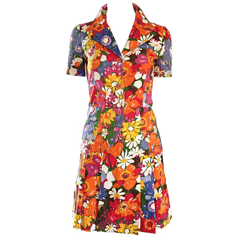 1960s Zibaut French Mod Colorful Flower Cotton Blouse & Skirt Vintage Dress Set