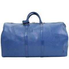 Vintage Louis Vuitton Keepall 55 Blue Epi Leather Duffle Travel Bag