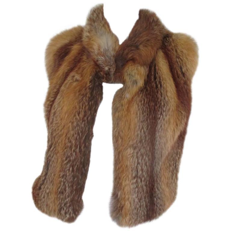 sleeveless red fox fur vest