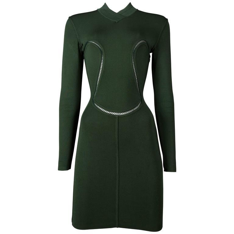 Alaia emerald green bodycon mini dress, circa 1991 For Sale