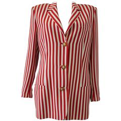 Outstanding Gianni Versace Couture Candy Striped Wool Blazer