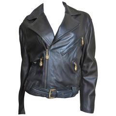 1990s Gianni Versace Thatched Detail Leather Jacket