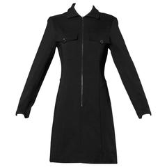 Claude Montana Vintage 90s Black Long Sleeve Zip Up Shirt Dress