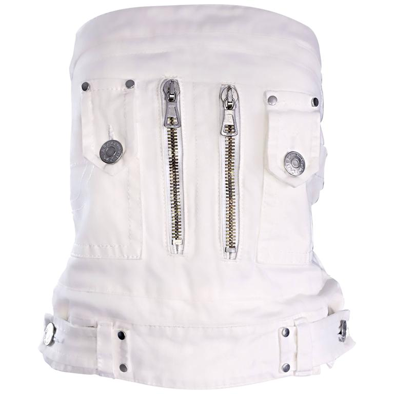 Dsquared2 Sexy White Denim Strapless Bustier Corset Style Strapless Jean Top