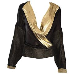 Gianfranco Ferre Vintage Black and Gold Silk Lame Knit Plunging Blouse Top
