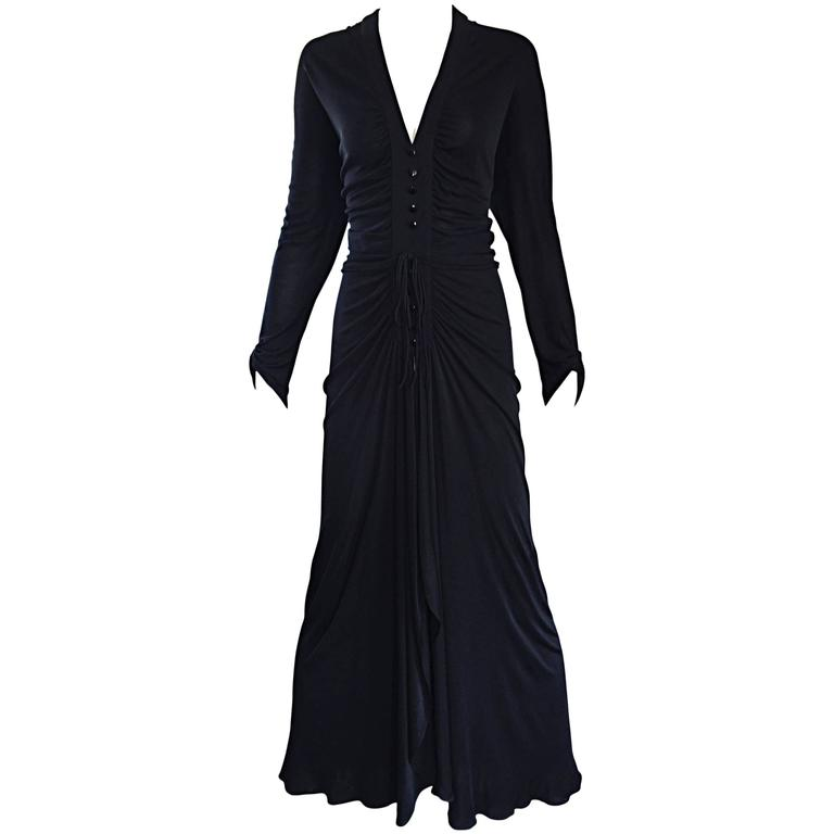 Nina Ricci Vintage 1970s Long Sleeve Jersey Grecian Inspired Black Disco Dress For