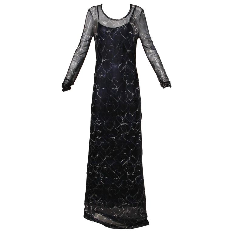 Moschino Vintage Navy Blue Hearts Print Mesh Maxi Dress  For Sale