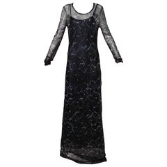 Moschino Vintage Navy Blue Hearts Print Mesh Maxi Dress