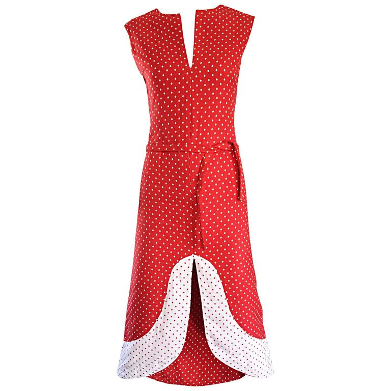 1960s Pierre Cardin Couture Vintage Space Age Red White Polka Dot Cut Out Dress For Sale
