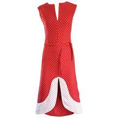 1960s Pierre Cardin Couture Vintage Space Age Red White Polka Dot Cut Out Dress