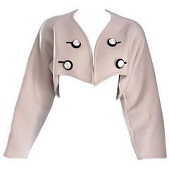 Geoffrey Beene Vintage Ivory Virgin Wool Cropped Bolero Jacket Avant Garde