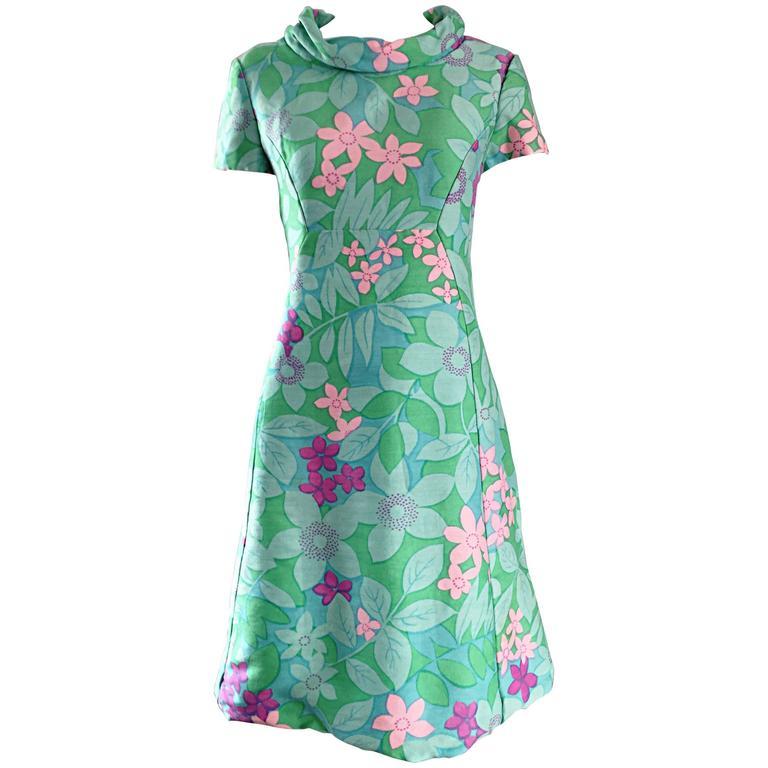 Chic Vintage Adele Simpson 1960s Pastel Flower Print Silk 60s A - Line Dress 1