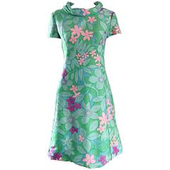 Chic Vintage Adele Simpson 1960s Pastel Flower Print Silk 60s A - Line Dress