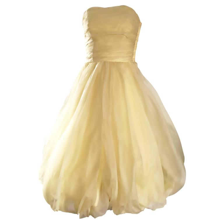 Vintage 1950s Lemon Pale Yellow Demi Couture Strapless Silk 50s Bubble Dress  1