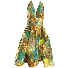 1950s Vintage Tie Dye Blue Yellow Brown Gray Fit n' Flare 50s Halter Dress