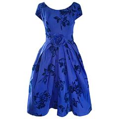 Demi Couture Royal Blue Silk Flower Abstract Vintage Dress, 1950s
