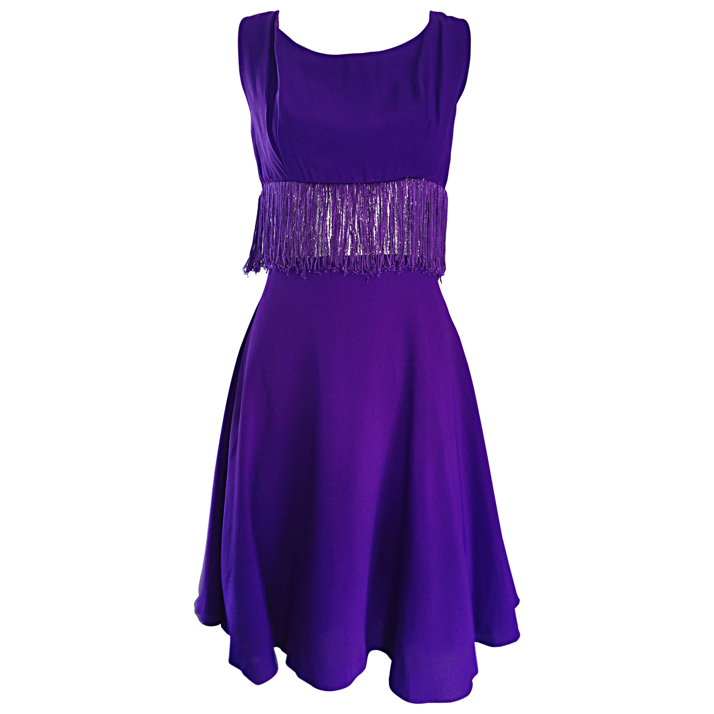 Purple and Silver Metallic 1960s Vintage A - Line Incredible 60s Fringe Dress