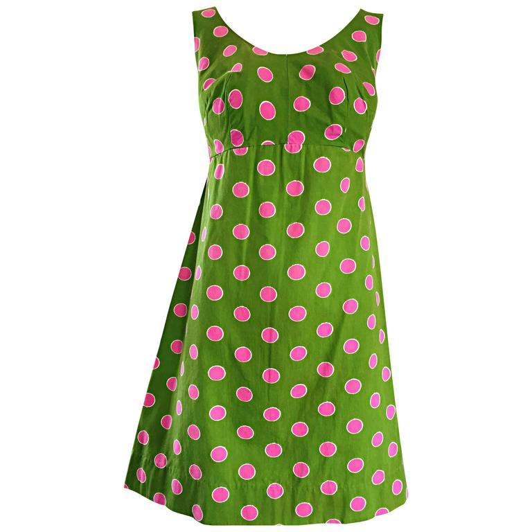 Adorable 1960s Lime Green and Pink Polka Dot Vintage A - Line 60s Cotton Dress For Sale