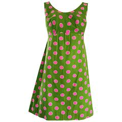 Adorable 1960s Lime Green and Pink Polka Dot Vintage A - Line 60s Cotton Dress