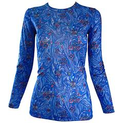 1970s Givenchy Vintage Fitted Jersey Blue Watercolor Swirls Blouse Top