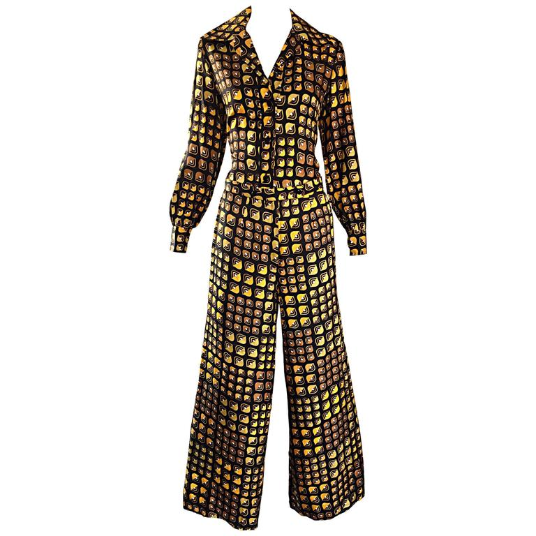 Lanvin Vintage Silk Blouse and Flared Trousers Geometric Yellow Print Rare 1970s