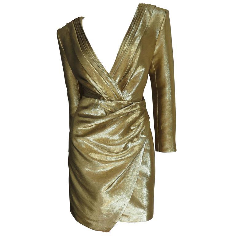 Saint Laurent Gold Plunge Wrap Dress For Sale
