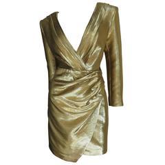 Saint Laurent Gold Plunge Wrap Dress