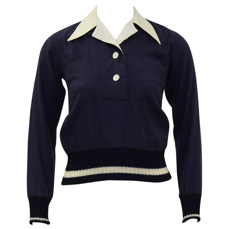 1970's Margaret Howell Navy Wool Gabardine Top  1