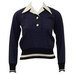 1970's Margaret Howell Navy Wool Gabardine Top